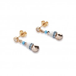 COEUR DE LION Mother of Pearl & Swarovski Crystals & Amazonite & Striped Agate Turquoise-Blue Earrings 4914/21-0607