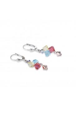COEUR DE LION Multicolour Crystal & Rose Gold Earrings 4938/20-1522