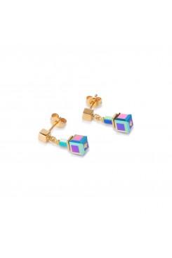 COEUR DE LION Geo Cube Multicolour Hematite Earrings 4947/21-1535