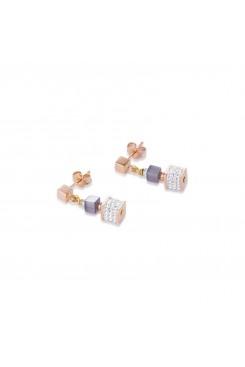 COEUR DE LION Geo Cube Malachite Fresh Sky Blues Earrings 4963/21-0706
