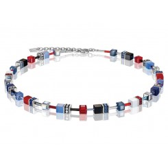 COEUR DE LION Geo Cube Scarlet Red, White and Denim Blue Necklace 2838/10-0703