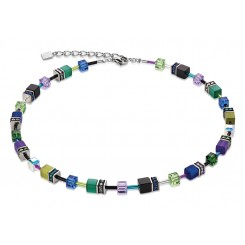COEUR DE LION Geo Cube Warm Purple & Bright Green  Necklace 2838/10-1554