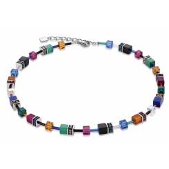 COEUR DE LION Geo Cube Bold Orange Blue Magenta Necklace 2838/10-1556
