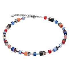 COEUR DE LION Geo Cube Denim Blue and Orange Necklace 2838/10-1559