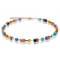 COEUR DE LION Geo Cube Bright Turquoise, Purple & Orange Necklace 2838/10-1575
