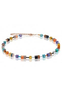 COEUR DE LION Geo Cube Bright Turquoise, Purple & Orange Necklace 2838/10-1575