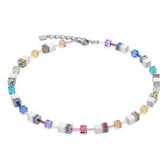 COEUR DE LION Geo Cube Multicolour White Necklace 2838/10-1552