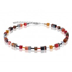 COEUR DE LION Geo Cube Warm Orange and Red Necklace 2838/10-0302