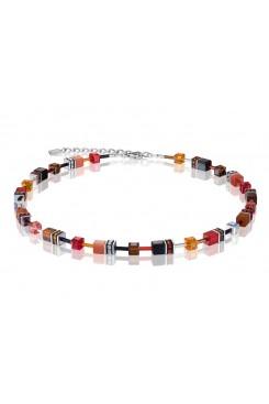 COEUR DE LION Geo Cube Warm Orange and Red Necklace 2838/10-0302