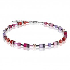 COEUR DE LION Geo Cube Magenta, Mauve and Pink Necklace 2838/10-0325