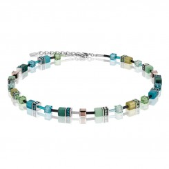 COEUR DE LION Geo Cube Multicolour Green Petrol Necklace 2838/10-0537