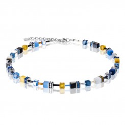COEUR DE LION Geo Cube Sky Blue & White Necklace 2838/10-0701