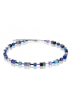COEUR DE LION Geo Cube Navy Blue Purple Necklace 2838/10-0708