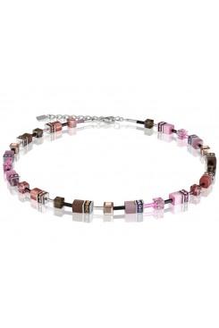 COEUR DE LION Geo Cube Pale Pink Tan Necklace 2838/10-1119