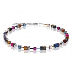 COEUR DE LION Geo Cube Navy Blue Amber Magenta Necklace 2838/10-1567