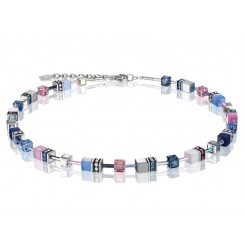 COEUR DE LION Geo Cube Pink, Navy and Sky Blue Necklace 2839/10-0719