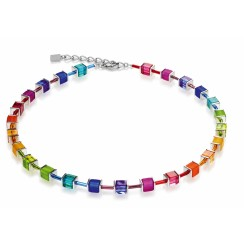 COEUR DE LION Geo Cube Polaris Multi Colour Rainbow Necklace 3986/10-1500