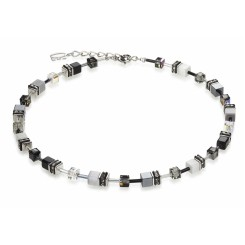 COEUR DE LION Geo Cube Haematite Black and White Necklace 4014/10-1412