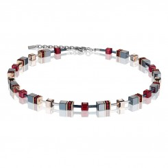 COEUR DE LION Geo Cube Titanium Red Necklace 4015/10-0300