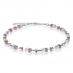 COEUR DE LION Geo Cube Clear & Rose Gold Necklace 4015/10-1822
