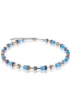 COEUR DE LION Geo Cube Delicate Cornflower Blue Necklace 4016/10-0700