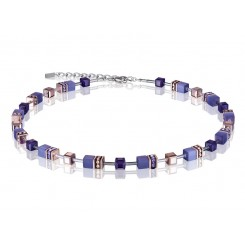 COEUR DE LION Geo Cube Rose Gold and Amethyst Purple Necklace 4016/10-0800