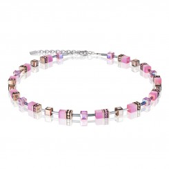 COEUR DE LION Geo Cube Soft Rose Pink Necklace 4016/10-1920