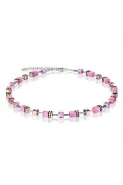 COEUR DE LION Geo Cube Soft Rose Pink Necklace 4016/10-1920