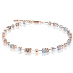 COEUR DE LION  Geo Cube Botswana Agate and Blush Champagne Necklace 4017/10-0230