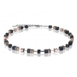 COEUR DE LION Geo Cube Rose Gold and Onyx Necklace 4018/10-1300