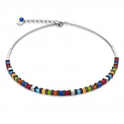 COEUR DE LION Geo Cube Fine Multicolour Hematite Bright Necklace 4031/10-1547