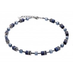 COEUR DE LION Geo Cube Haematite Navy Necklace 4322/10-0722