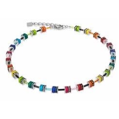 COEUR DE LION Geo Cube Mini Rainbow Colours Necklace  4409/10-1500