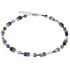 COEUR DE LION Geo Cube Cobalt Blue Necklace 4014/10-0712
