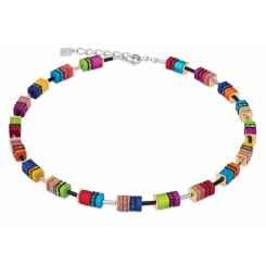 COEUR DE LION Geo Cube Malachite Multicolour Necklace 4746/10-1500
