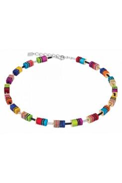 COEUR DE LION Geo Cube Malachite Multicolour Necklace 4746/10-1500