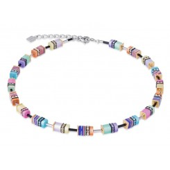 COEUR DE LION Geo Cube Multi-colour Pastel Necklace  4746/10-1542