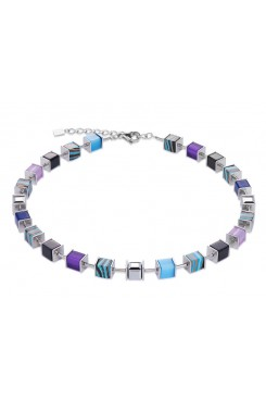 COEUR DE LION Geo Cube Swarovski Crystals, Malachite, Turquoise and Purple Necklace 4747/10-0708