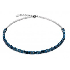 COEUR DE LION Swarovski Haematite Bright Blue Necklace 4777/10-0700