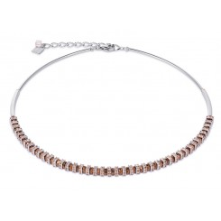 COEUR DE LION Swarovski, Cut Glass Rose Gold Champagne Necklace 4858/10-1126