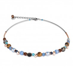COEUR DE LION Frontline Crystals & Crystal Pearls by Swarovski & Rock Crystal Blue-Brown Necklace 4864/10-0711