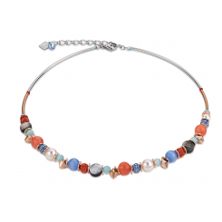 COEUR DE LION Swarovski Pearls Rock Crystal Orange Blue Necklaces 4864/10-2002