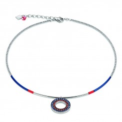 COEUR DE LION Swarovski Navy Red Circle Pendant Necklace 4878/10-0703