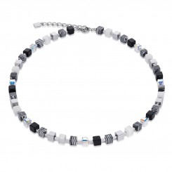 COEUR DE LION Geo Cube Swarovski Crystals & Malachite Small Black-White Necklace 4882/10-1314
