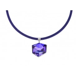COEUR DE LION Swarovski Cube Pendant Vibrant Purple Necklace 4889/10-0800