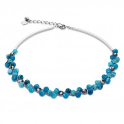 COEUR DE LION Multirow Swarovski Crystals & Striped Agate Turquoise Necklace 4895/10-0600