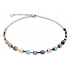 COEUR DE LION Geo Cube Polaris Soft Blue Turquoise Necklace 4909/10-0737