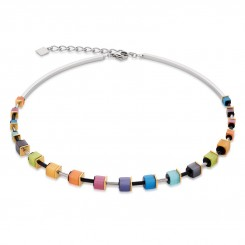 COEUR DE LION Geo Cube Polaris Soft Rainbow Multicolour Necklace 4909/10-1520