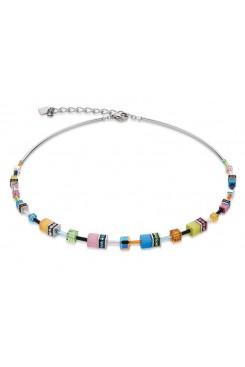 COEUR DE LION  Geo Cube Multi Colour Graduated Necklace 4910/10-1527