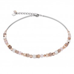 COEUR DE LION Mother of Pearl & Swarovski Crystals & Rose Quartz & Agate Beige-Rose Necklace 4914/10-1019